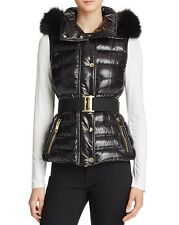$990 BURBERRY BRIT Willowbank Black Fox Fur Trim Down Puffer Vest Jacket Hoody L
