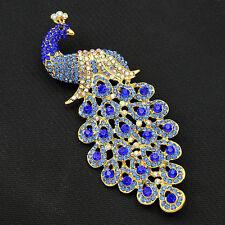 Fashion Elegant Peacock Shape Peafowl Bird Brooch Pin Blue Crystal Rhinestone