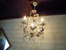 Grand lustre à pampilles cristal en métal peint 3 lumières