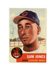 SAM JONES signed 1953 TOPPS baseball card #6 INDIANS