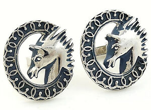 Swank Charger Cufflinks Big Vintage 1953 Designer Collection Blue Silvertone