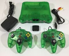Jungle Green Nintendo 64 Console + HOOKUPS + 2 NEW N64 CONTROLLERS + Jumper Pack