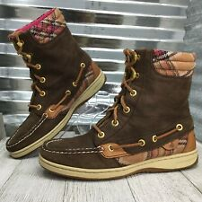 Sperry TopSider Women Brown Leather Hiker fish Boots Lace Up  Comfort Shoe Sz 6