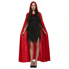 VELVET Mantello con cappuccio Red Riding Hood Halloween Costume Diavolo Da Donna