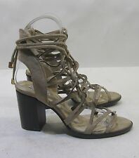 "Cape Robbin Khaki Womens 4""Block Heel Open Toe Lace Up Sexy Shoes Size 9"