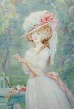Aquarelle. Elégante au jardin. Vers 1900