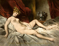 """Nude Woman Laying with Jug 8.5x11"""" Photo Print Achille Deveria Naked Female Art"""