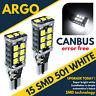 2X 15SMD T15 W16W REVERSE LED W5W WHITE 6000K CANBUS FORD FIESTA MK6 MK7 2008+