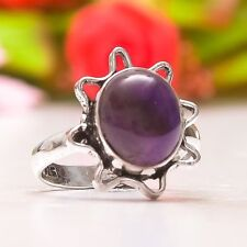 ATTRACTIVE AFRICAN AMETHYST SAGE HANDMADE ETHNIC .925 SILVER RING SIZE 7