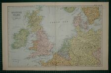 1905 ANTIQUE MAP ~ BRITISH ISLES ENGLAND IRELAND SCOTLAND CONNECTIONS HOLLAND