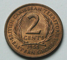 1955 BRITISH EAST CARIBBEAN TERRITORIES Coin - 2 Cents - UNC - red/brown lustre