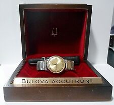 BULOVA ACCUTRON MENS WATCH VINTAGE 1966 10K, 6 DIAMONDS ONE OWNER; NEEDS BATTERY