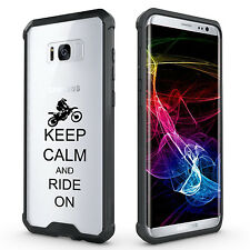 For Samsung S7 Edge S8 + Clear Shockproof Case Keep Calm Ride On Dirt MX Bike