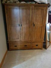 Oak Furniture Land Rustic Solid Oak Triple Wardrobe