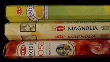 LEMON Magnolia Rose 60 HEM Incense Sticks 3 Scent Sampler Gift Set