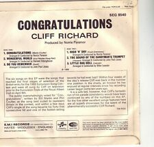 CLIFF RICHARD CONGRATULATIONS 1968 EP RARE