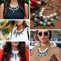 Damen Statement Geometrisch Halskette Collier Choker Schmuck Kette Vintage Neu