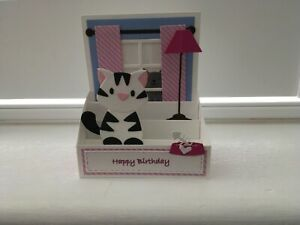 Handmade card pop up Cat at home window scene card.