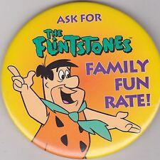 "VINTAGE 3"" PINBACK #D5-029 - CARTOON - THE FLINTSTONES - FRED - FAMILY FUN RATE"