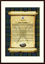 CLAN CAMPBELL - Clan History, Tartan, Crest, Castle & Motto MOUNTED PRESENTATION