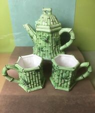 Old Majolica Type Pottery Green Teapot, Bamboo Embossed Pattern Teapot and Cups