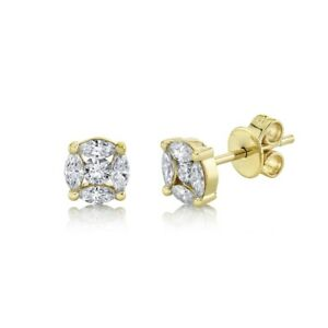 14K Yellow Gold Marquise Diamond Stud Earrings 0.53CT Natural Pushback Womens