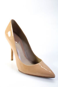 B Brian Atwood  Womens Pointed Toe Patent Leather Pumps Nude Size 8
