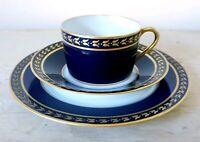 Vintage LIMOGES LT France Porcelain Trio Cup Saucer Cobalt Blue Gold Handpainted