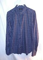Theory Mens Shirt Size Large Slim Fit Blue White Check Button Up 100% Cotton