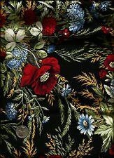 """Countryside Inn"" Print blue red green on black Fabric Celebrating Style for RJR"