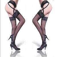 Black Sexy Fashion Lace Pantyhose Tights Suspender Garter Belt and Stockings set