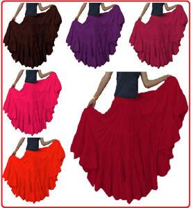Cotton Women Belly Dance 25 Yard 4 Tier Tribal Gypsy Skirt Tier Flamenco Ruffle