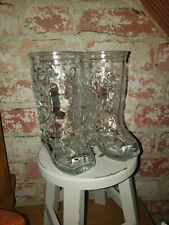 New ListingPair of 6� Cowboy Boot Clear Glass Mugs With Handle - Western Barware Decor