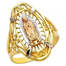 Guadalupe Lady of Mother Mary Religious Ring 14K Tri Color Gold Fancy Virgen de