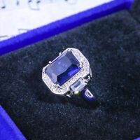 Fashion Women 925 Silver Jewelry Wedding Ring Blue Sapphire Ring Size 6-10
