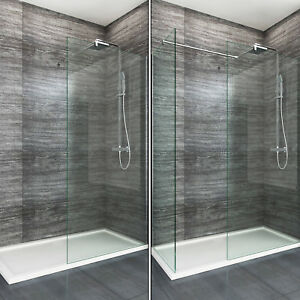 Walk in Enclosure &Tray Wet Room Shower Screen and End Panel 8mm EasyClean Glass
