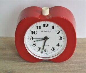 BLESSING Tisch-Uhr Wecker Rot mechanisch 70er Jahre Apfel-Form Apple