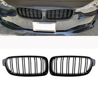 Front Kidney Grill Grilles For BMW F30 F31 3-Series Gloss Black Dual Line 12-18