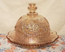 Imperial Glass Pink Iridescent Luster Rose Butter Dish