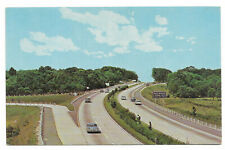 Vintage chrome postcard, old cars on I95, Westbrook exit, CT turnpike, CT