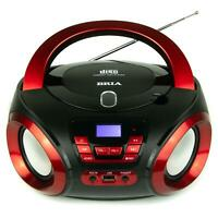 BRIA PB271 Portable CD/MP3 Home Audio FM Radio Enhanced Bass Boombox with BT Red