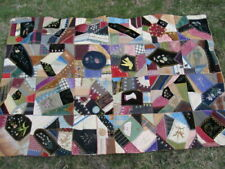 NICE 1890 ANTIQUE VICTORIAN CRAZY QUILT, Wall Hanging, Beautiful Hand Embroidery