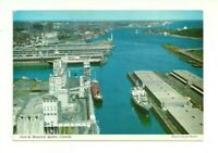 AERIAL VIEW OF MONTREAL & ST. LAWRENCE RIVER, QUEBEC, CANADA CHROME POSTCARD