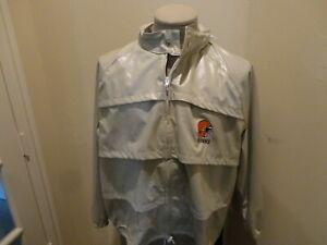 Vtg 80's Cleveland Browns COOL IT !  Vinyl Look Hooded Full Zip Rain Jacket XL
