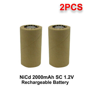 2 pcs Sub C Battery SC 2.0Ah 2000mAh NiCd Rechargeable for Power Tool RC CAR