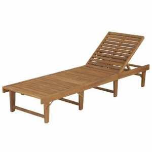 Classic Acacia Wood Sun Lounger Garden Patio Pool Large Foldable Sunbed Backrest