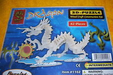 DRAGON 3D PUZZLE, 62 PIECES. INTERMEDIATE, NEW