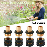 2/4Pairs Garden Water Hose Tap Quick Connector Kit Pressure Washer Brass Connect