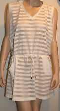 Calvin Klein Size L/XL Milk Striped With Crochet Hooded Swimsuit Cover Up NEW
