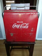 Vintage~1950s Coca Cola Coke Cooler~Metal Ice Chest Cooler~Tray Insert~Embossed